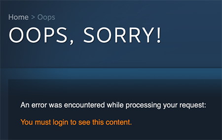 Steam Error page